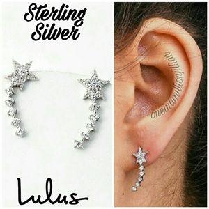 Lulus Sterling Silver Shooting Star Earrings